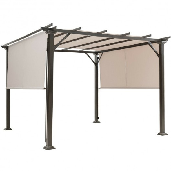 2Pcs Universal Replacement Canopy for Pergola Structure Sun Awning-Beige