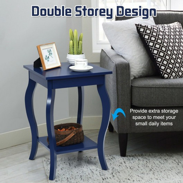 Set of 2 Side Table Sofa Table Night Stand with Shelf-Blue