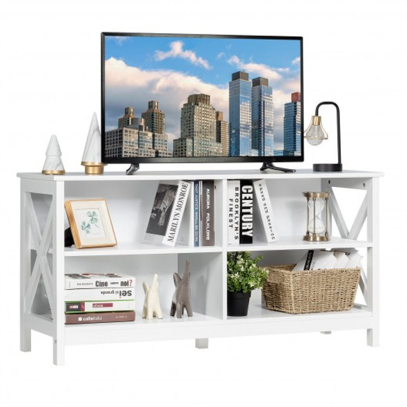 Wooden TV Stand Entertainment Media Center -White