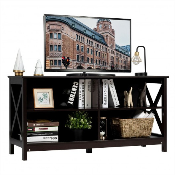 Wooden TV Stand Entertainment Media Center -Brown