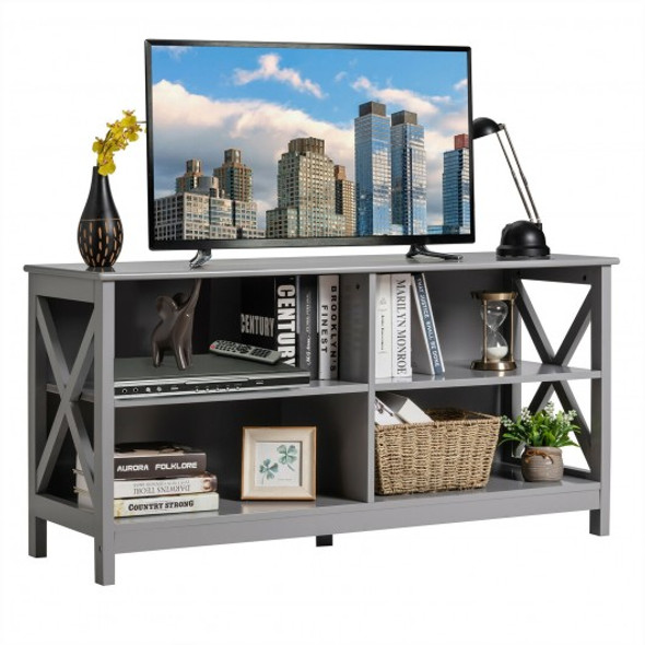 Wooden TV Stand Entertainment Media Center -Gray