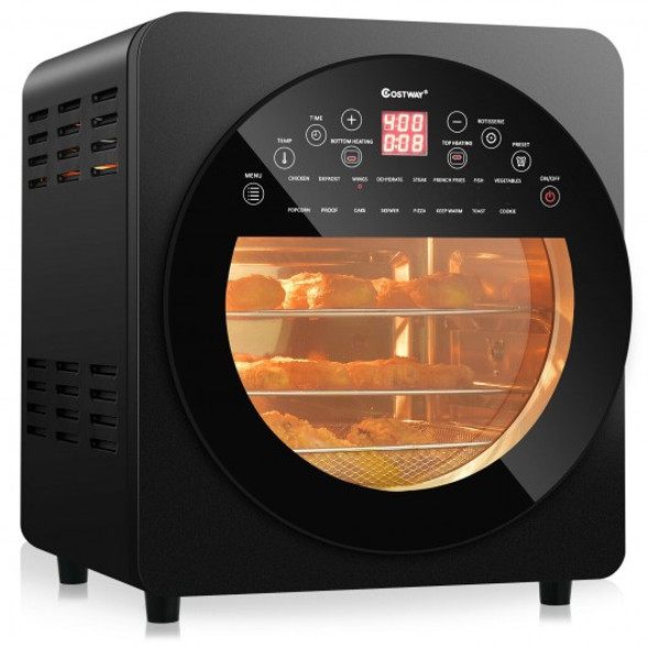 16-in-1 Air Fryer 15.5 QT Toaster Rotisserie Dehydrator Oven-Black