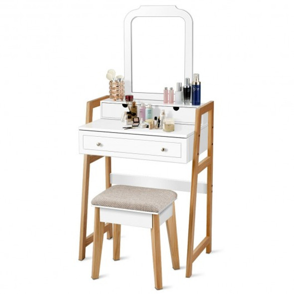 Makeup Vanity Table Dressing table and Cushioned Stool Set - COHW65959