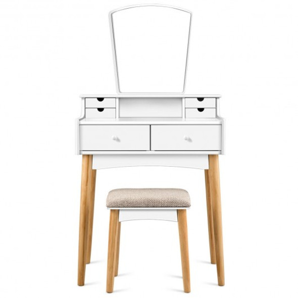 Vanity Table Set Dressing Table Cushioned Stool Makeup Table - COHW65957