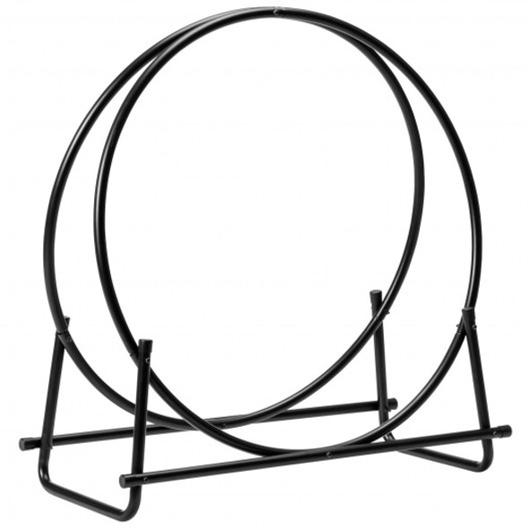 "30"" Tubular Steel Log Hoop Firewood Storage Rack"
