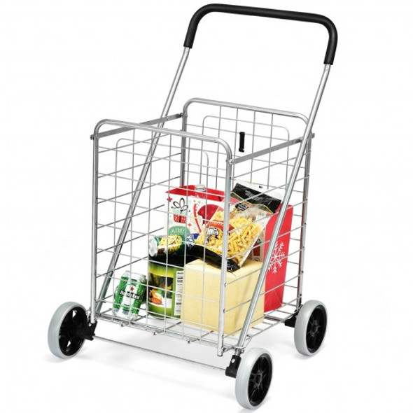 Portable Folding Shopping Cart Utility for Grocery Laundry-Silver