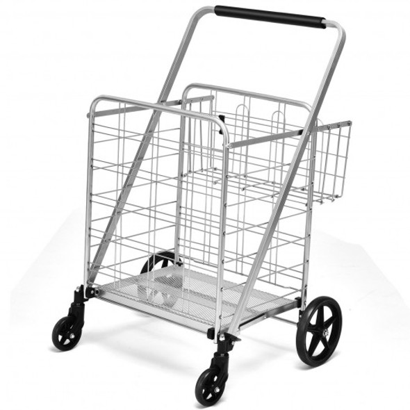 Heavy Duty Folding Utility Shopping Double Cart-Silver