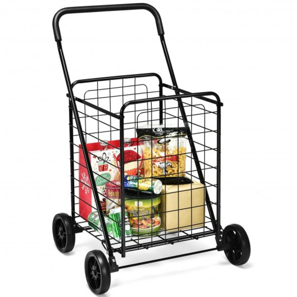 Portable Folding Shopping Cart Utility for Grocery Laundry-Black