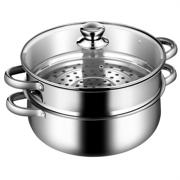 2 Tier Stainless Steel Steamer Pot with Glass Lid