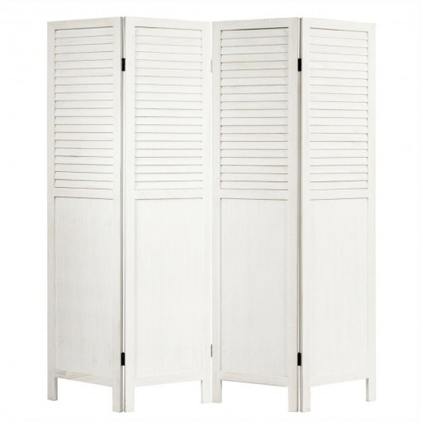 5.6 Ft Tall 4 Panel Folding Privacy Room Divider-White