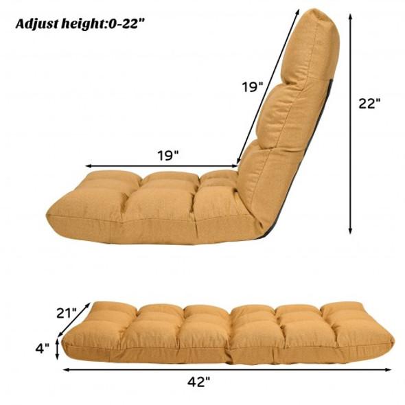 14-Position Adjustable Folding Lazy Gaming Sofa-Yellow