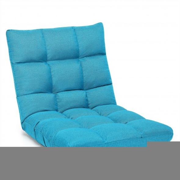 14-Position Adjustable Folding Lazy Gaming Sofa-Light Blue