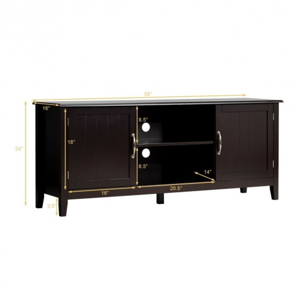Entertainment Media TV Stand with Storage Cabinets-Brown