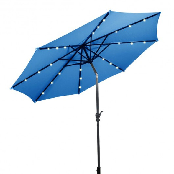 10 ft Patio Solar Umbrella with Crank and LED Lights-Blue