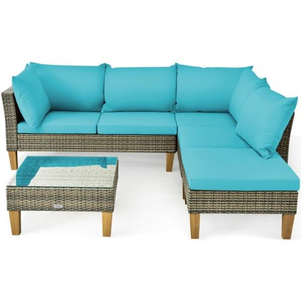 4PCS Patio Rattan Furniture Set Cushioned Loveseat