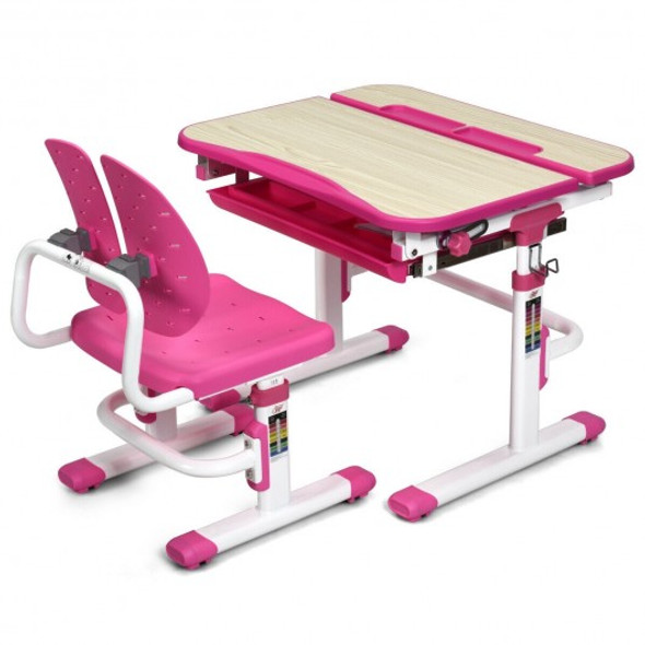Height Adjustable Kids Study Desk and Chair Set-Pink