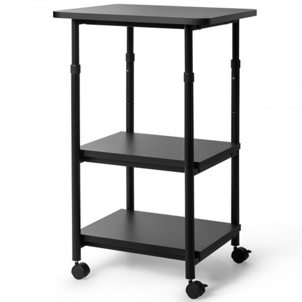 3-tier Adjustable Printer Stand with 360 Swivel Casters-Black