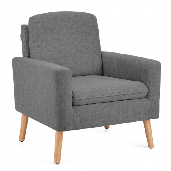 Modern Accent Arm Chair Upholstered Fabric Single Sofa -Gray