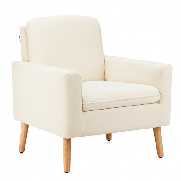 Modern Accent Arm Chair Upholstered Fabric Single Sofa -Beige