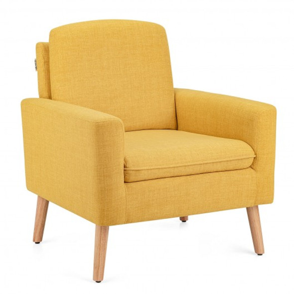 Modern Accent Arm Chair Upholstered Fabric Single Sofa -Yellow
