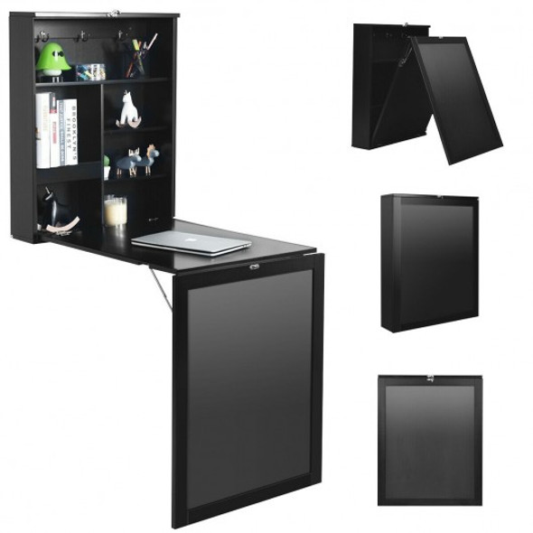 Convertible Wall Mounted Table with A Chalkboard-Black