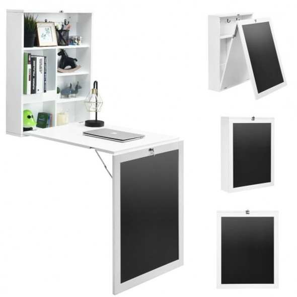 Convertible Wall Mounted Table with A Chalkboard-White