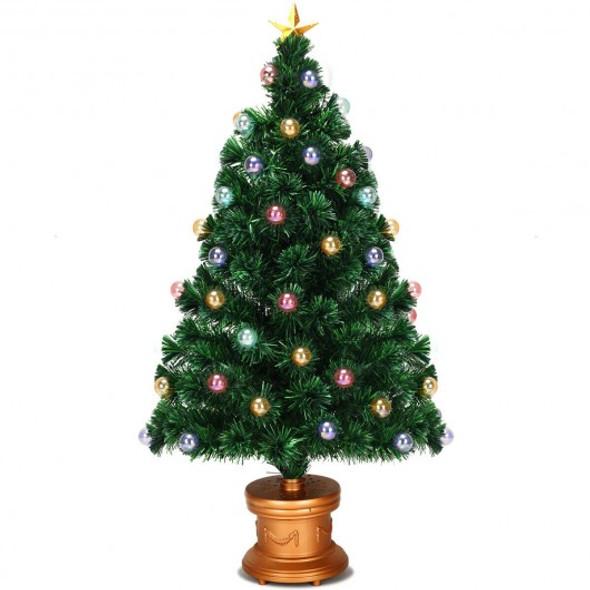 Pre-Lit Fiber Optical Firework Christmas Tree-4'