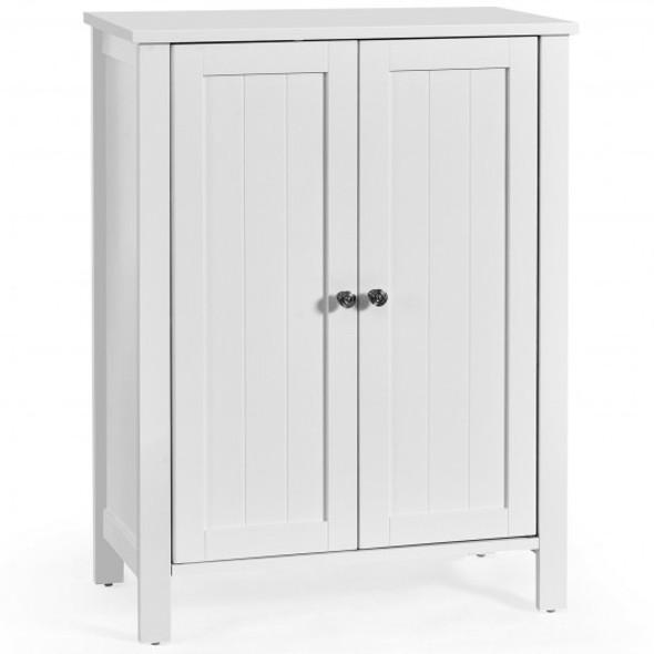 2-Door Bathroom Floor Storage Cabinet with Adjustable Shelf