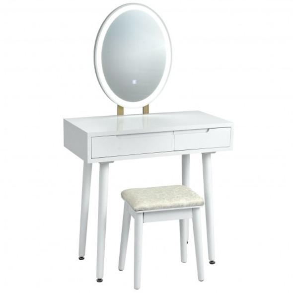 Touch Screen Vanity Makeup Table Stool Set -White