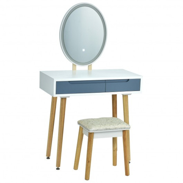 Touch Screen Vanity Makeup Table Stool Set -Gray