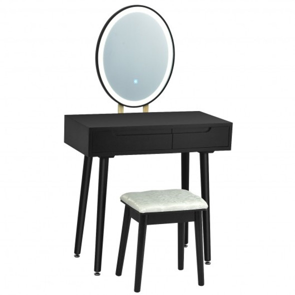 Touch Screen Vanity Makeup Table Stool Set -Black