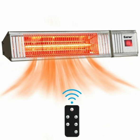 1500W Infrared Patio Heater w/ Remote Control & 24H Timer for Indoor Outdoor