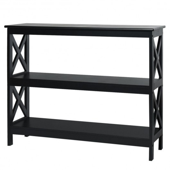 3-Tier Console X-Design Sofa Side Accent Table-Black