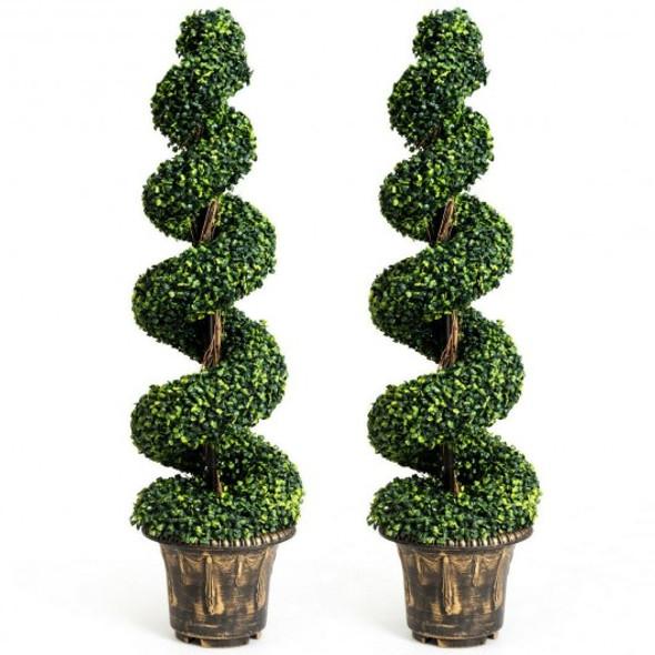2-Set 4' Artificial  Decor Green Boxwood Spiral Tree - COHW66555-2