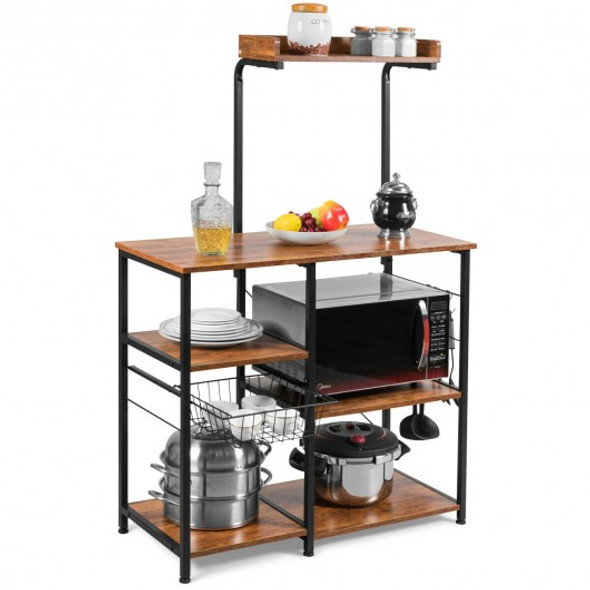 4 Tier Vintage Kitchen Baker's Rack Utility Microwave Stand-Coffee - COHW65951CF