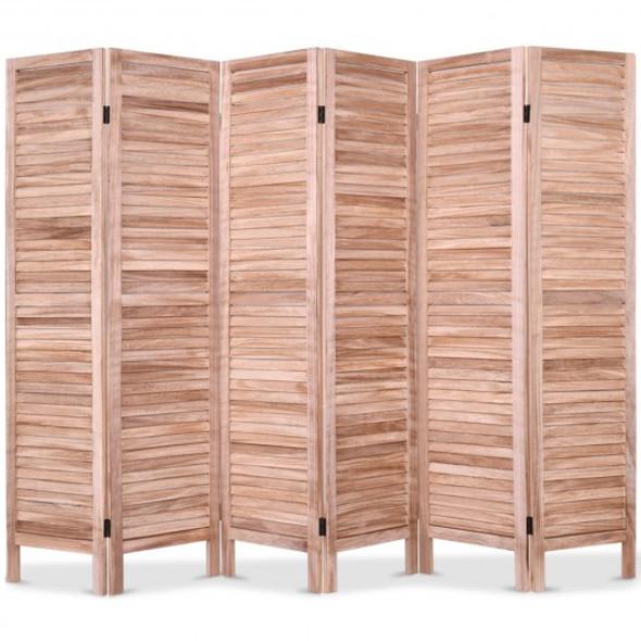 6 Panels Classic Venetian Wooden Slat Room Screen-Brown - COHW66280BN