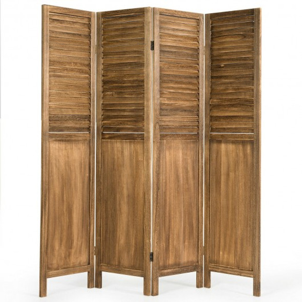 5.6 Ft Tall 4 Panel Folding Privacy Room Divider-Wood