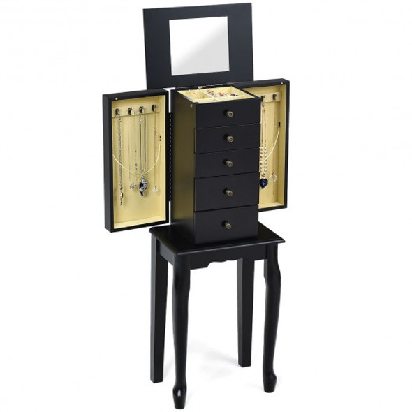 2 Colors Armoire Storage Standing Jewelry Cabinet with Mirror-Black - COHW65834BK