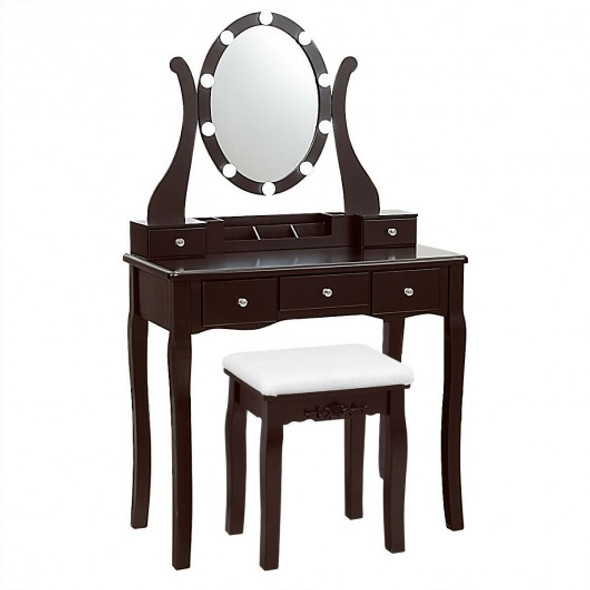 Touch Switch Makeup Dressing Vanity Table Set with 10 Light Bulbs-Coffee