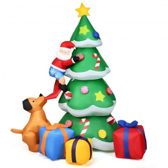 7 ft Inflatable Christmas Tree Santa Decor with LED Lights