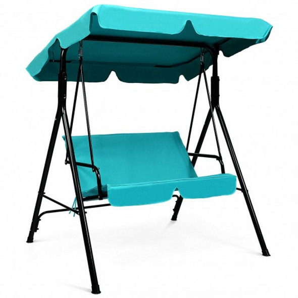 Steel Frame Outdoor Loveseat Patio Canopy Swing with Cushion-Blue