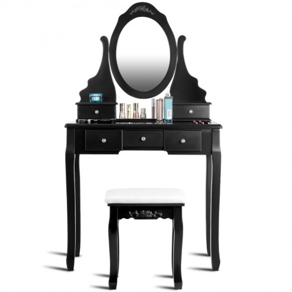 Mirrored Jewelry Wooden Vanity Table Set with 5 Drawers-Black