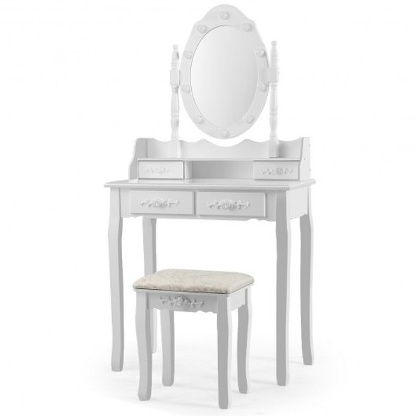 Makeup Vanity Dressing Table Set with Dimmable Bulbs Cushioned Stool-White