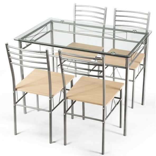5 pcs Dining Set Glass Table and 4 Chairs - COHW66274