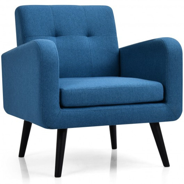Modern Upholstered Comfy Accent Chair Single Sofa with Rubber Wood Legs-Navy
