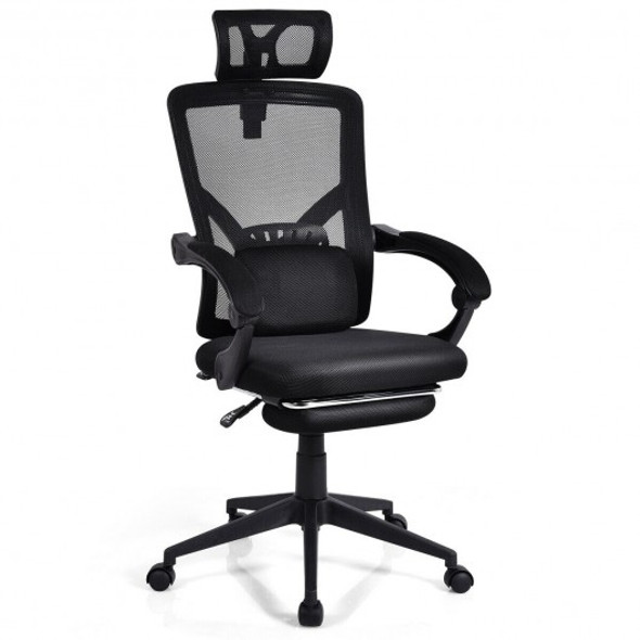High Back Office Recliner Chair with Adjustable Headrest and Footrest