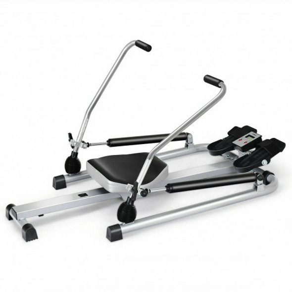 Exercise Adjustable Double Hydraulic Resistance Rowing Machine - COSP37196