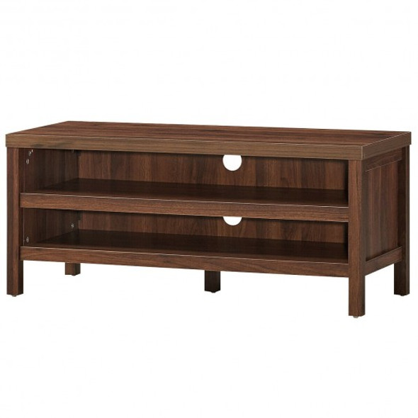 """3-Tier TV Stand Console Cabinet for TV's up to 45"""" with Storage Shelves-Walnut"""