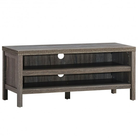 """3-Tier TV Stand Console Cabinet for TV's up to 45"""" with Storage Shelves-Gray"""