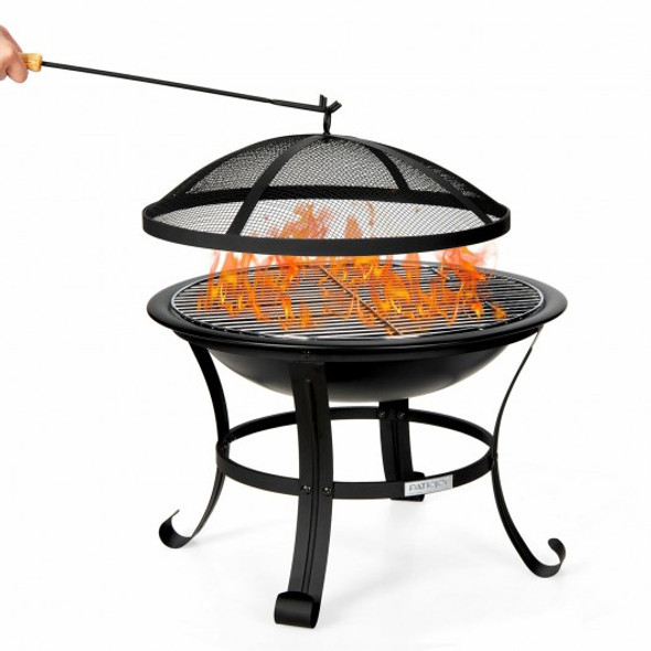 """22"""" Steel Outdoor Fire Pit Bowl BBQ Grill With Wood Grate"""